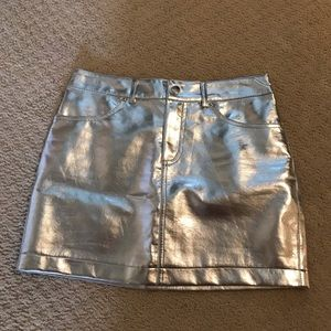 Metallic Silver Faux Leather Skirt